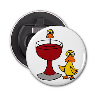 Funny Ducks and Red Wine Glass
