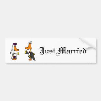 Funny Ducks Bride and Groom Wedding Cartoon Car Bumper Sticker