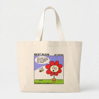 Funny Earth-Friendly Gardening Cartoon Grocery Jumbo Tote Bag