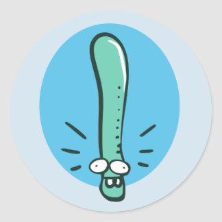 funny earth worm cartoon classic round sticker