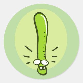 funny earth worm cartoon round sticker