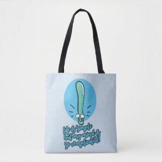 funny earthworm life opinion cartoon tote bag