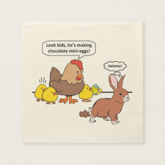 Funny Easter Bunny Chocolate Eggs Disposable Napkins