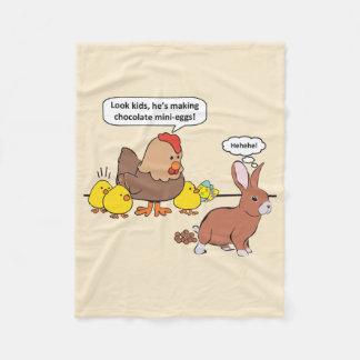 Funny Easter Bunny Chocolate Eggs Fleece Blanket