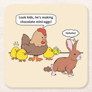 Funny Easter Bunny Chocolate Eggs Square Paper Coaster