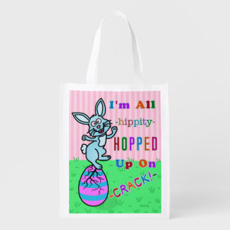 Funny Easter Bunny Cracked Egg Humor Grocery Bags
