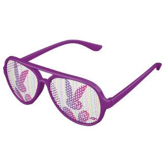 Funny Easter Bunny on Stripes Aviator Sunglasses