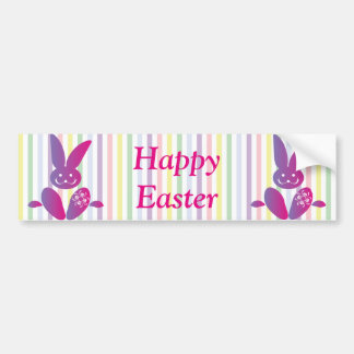 Funny Easter Bunny on Stripes Car Bumper Sticker