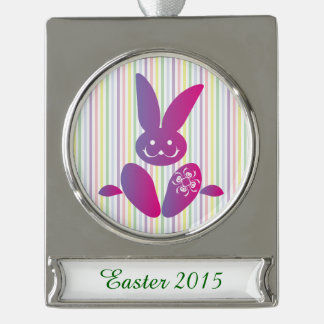 Funny Easter Bunny on Stripes Silver Plated Banner Ornament