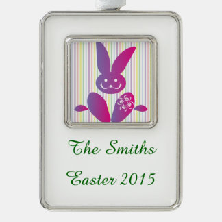 Funny Easter Bunny on Stripes Silver Plated Framed Ornament