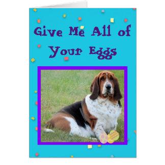 Funny Easter Card w/Basset Basket Bandit