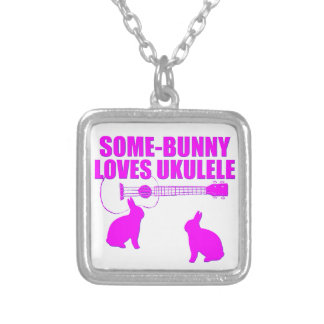 Funny Easter Ukulele Silver Plated Necklace