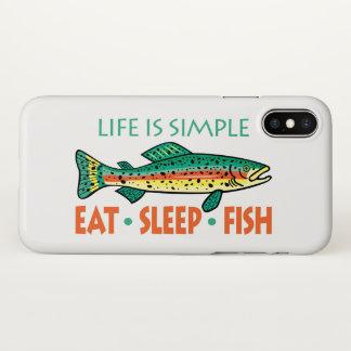 Funny Eat Sleep Fish iPhone X Case