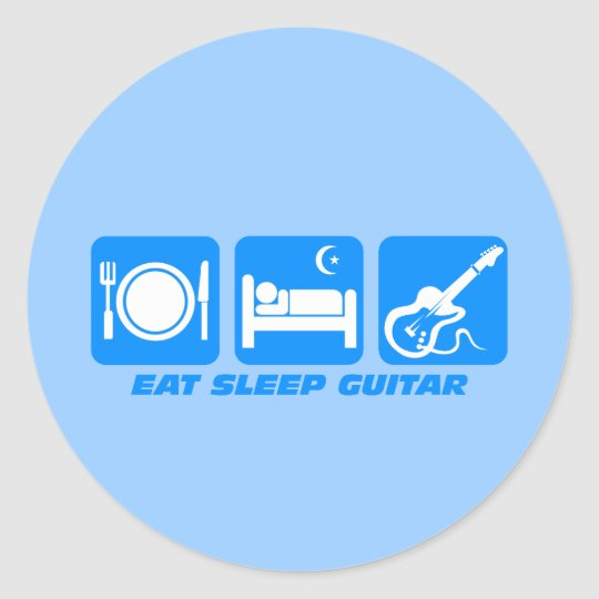 Funny eat sleep guitar round sticker