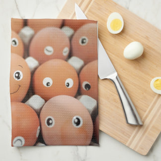 Funny Egg Faces - Breakfast Food Print Kitchen Towel