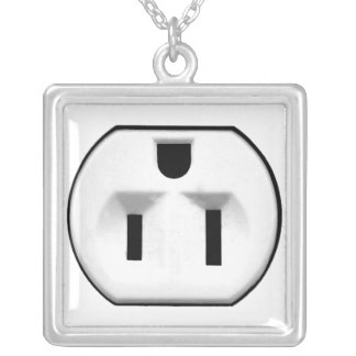 Funny Electrical Outlet Gift For Electricians Silver Plated Necklace