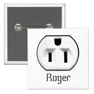 Funny Electrical Outlet Name Badge | Name Tags Pin