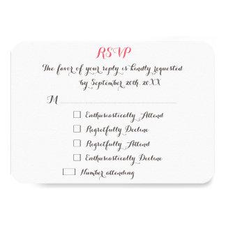 Funny Elegant Custom Wedding RSVP Invitation Card