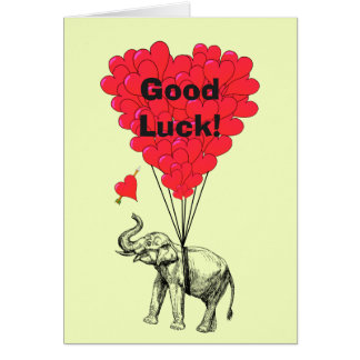 Funny elephant and heart good luck card