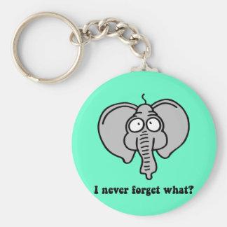 Funny elephant basic round button key ring
