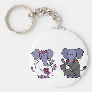 Funny Elephant Bride and Groom Wedding Design Key Chains