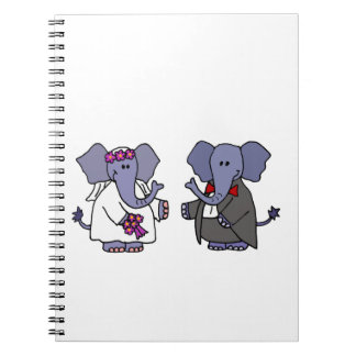 Funny Elephant Bride and Groom Wedding Design Note Book
