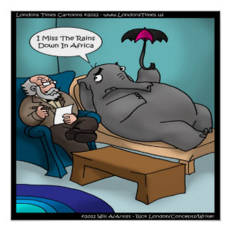 Funny Elephant In Therapy Poster Poster