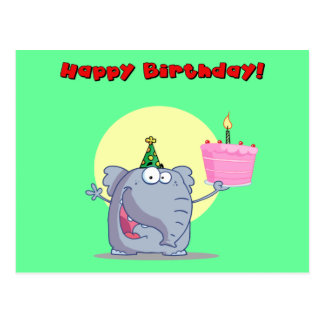 Funny Elephant With Cake Happy Birthday Postcards