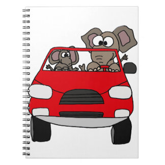 Funny Elephants in Red Car Spiral Note Books