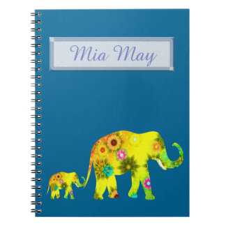 Funny, Elephants, Personalized, Floral Notebook