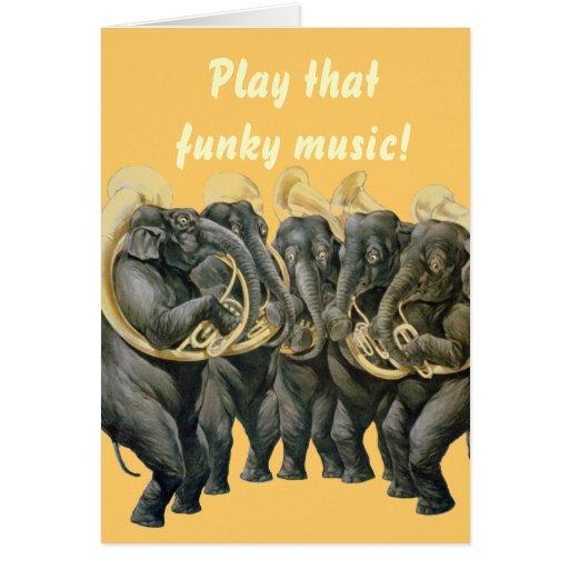 Funny elephants playing music birthday greeting card