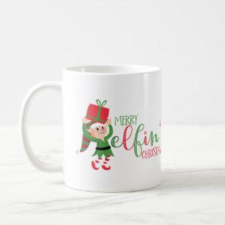 Funny Elf Merry Elfin' Christmas Coffee Mug