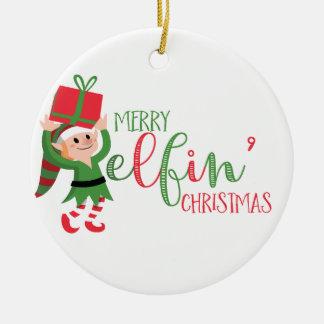 Funny Elf Merry Elfin' Christmas Round Ceramic Decoration