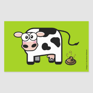 Funny Embarrassed Pooping Cow Rectangle Stickers Rectangular Sticker
