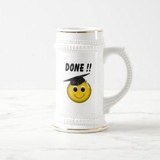 "Funny Emoji ""Done"" Graduation Beer Stein"