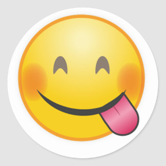 Funny Emoji face savoring delicious food yellow Classic Round Sticker