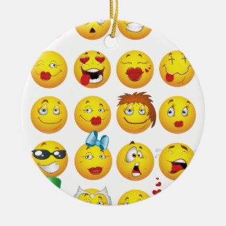 Funny Emoji Faces Cool Awesome Smiles Ceramic Ornament