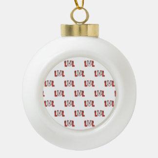 Funny Emoji Laughing Out Loud Pattern Ceramic Ball Christmas Ornament