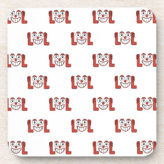 Funny Emoji Laughing Out Loud Pattern Drink Coasters
