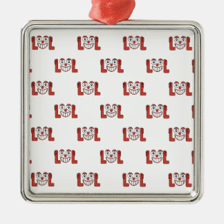 Funny Emoji Laughing Out Loud Pattern Silver-Colored Square Decoration