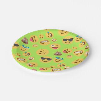 Funny Emoji Pattern (green) 7 Inch Paper Plate