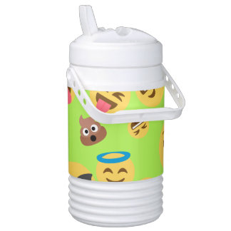 Funny Emoji Pattern (green) Drinks Cooler