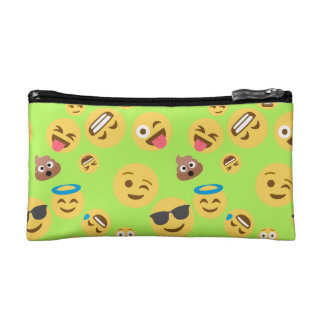 Funny Emoji Pattern (green) Makeup Bag