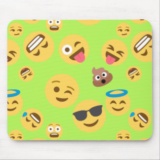 Funny Emoji Pattern (green) Mouse Pad