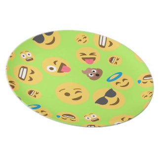 Funny Emoji Pattern (green) Party Plates