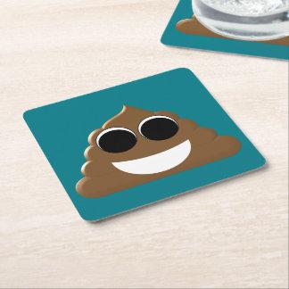 Funny Emoji Poo Square Paper Coaster