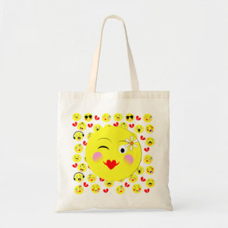 Funny Emoji Style Smiley Faces Theme Tote Bag