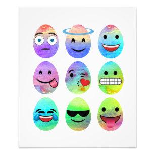 Funny Emojis, Easter Emoji Eggs, Emoticon Egg Photo Print