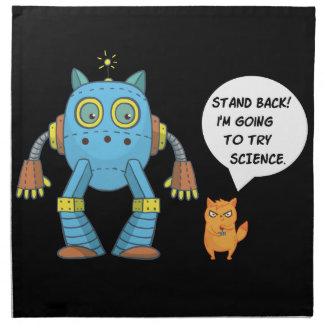 Funny Engineering Science Robotics And Angry Cat Napkin