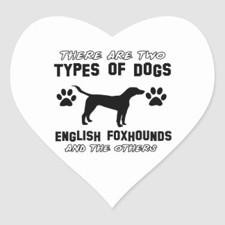 Funny english foxhound designs heart sticker